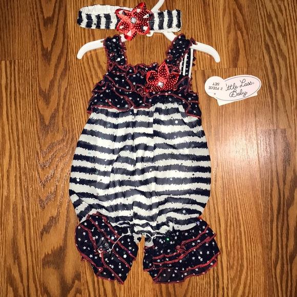 e6421cb8499 Little Lass Baby NWT❗️Patriotic Romper   Headband